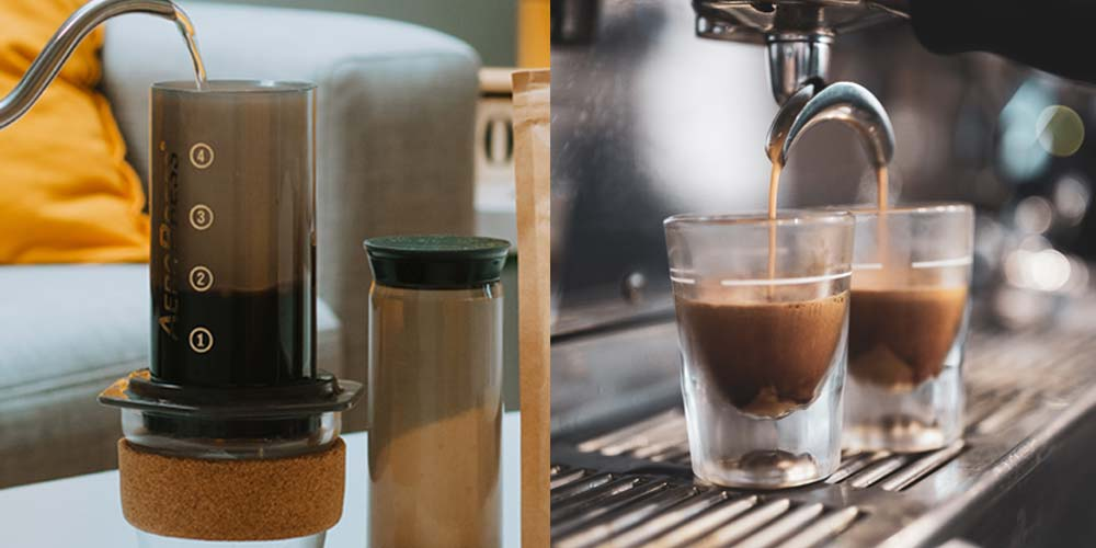 AeroPress Vs Espresso - The left side shows a gooseneck kettle pouring water into an AeroPress coffee maker. The right side shows an espresso machine with espresso coffee pouring into two espresso glasses.