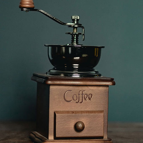 Close up of a hand coffee grinder