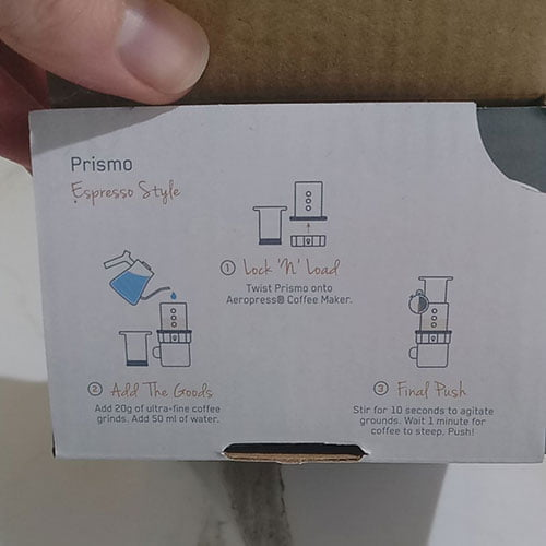 inside flap of the prismo fellow box